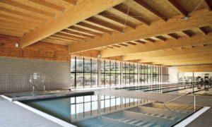 Бетонный бассейн с гидромассажной зоной, отделка плиткой